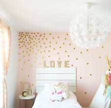 classic teen girl bedroom design with fever gold polka dot wall decal twin size headboard