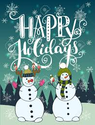 Holidays Snowman Happy Holidays Unique Hand Lettering With Funny Cartoon Snowman