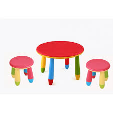 round children s table cpu2005002 with 2 low stools in red