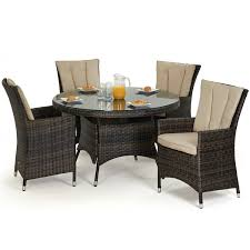 maze rattan garden furniture la brown 4 seater round dining table set