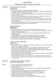 Agency Manager Resume Samples Velvet Jobs