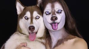 israeli artist demonstrates how to create a realistic siberian husky face with makeup
