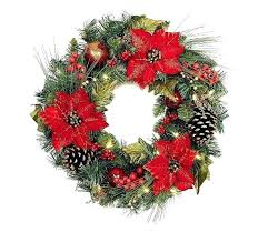 Outdoor Lighted Wreath Extraordinary Outdoor Lighted Wreath Lit Poinsettia Cone And Berry Wreaths With