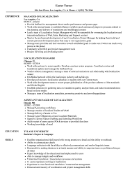 Localization Manager Resume Samples | Velvet Jobs