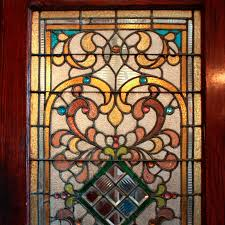 large 38 antique oak front door with jeweled stained glass 1800 s ned124 for