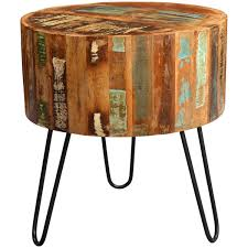 wood end tables. Handmade Wanderloot Tulsa Round Reclaimed Wood End Table With Hairpin Legs (India) Tables E