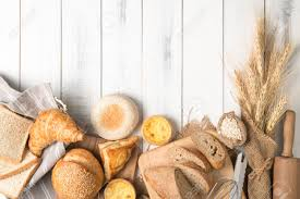 Bread And Bakery Ingredients On White Wooden Background Top Stock