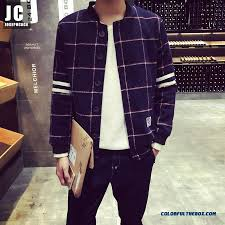 autumn and winter men s woolen coat fashion plaid slim big size