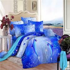 100 cotton royal bule 3d dolphins ocean bedding set queen size for kids boys duvet
