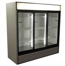 used three door cooler with sliding doors