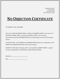 Non Objection Letter Sample How To Write No Objection Certificate