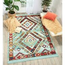 southwestern area rug tribal decor aqua rugs 8x10