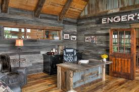 reclaimed wood office. Reclaimed Metal And Wood Combine Effectively In The Rustic Home Office [Design: Lands End