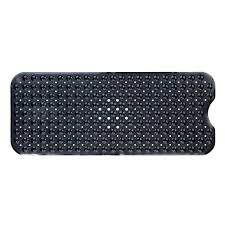 extra long bath mat in solid black