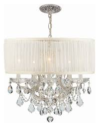 crystorama 4415 ch saw clm bwood pleated white shade chrome hanging chandelier loading zoom