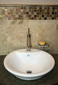 glass mosaic accent over vanity