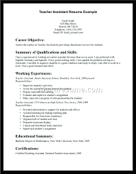 Career Objective For Teacher Resumes Example Resume Teacher Assistant Teacher Resume Sample Teacher