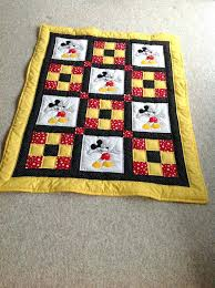 baby quilt mickey mouse quilt red yellow black polka dots childs mickey mouse quilt block pattern