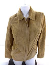 ed bauer womens tan seattle suede washable leather on front jacket size m