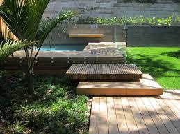 Sustainable Hardwood Used Create Oversized Floating Steps Pool