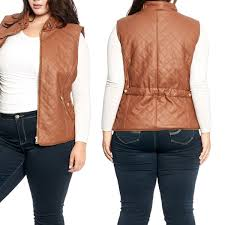 women s plus size faux leather vest with full sherpa lining size 1x