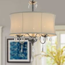 3 light modern crystal iron chandelier with fabric shade dk rl3207