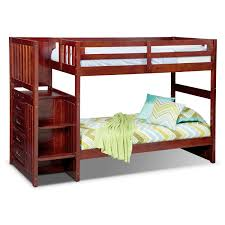 Ranger Twin over Twin Bunk Bed with Storage Stairs - Merlot | Value ...