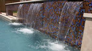 outdoor pool glass tile water feature