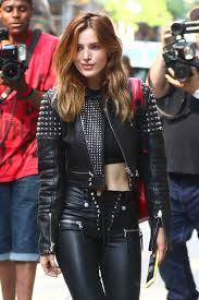 bella thorne wearing black leather while out about in new york city
