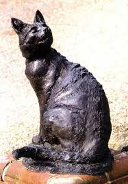 bronze resin cats sculpture by sculptor lorne mckean titled cat benny big portrait