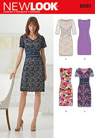 Dress Sewing Patterns Beauteous Misses Dresses with neck line variations New Look Sewing Pattern
