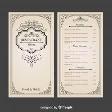 Resturant Menu Template Restaurant Menu Template With Elegant Ornaments Vector Free Download