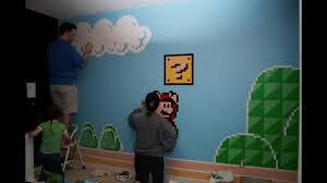 Super Mario Bros Bedroom Decor Super Mario Room Mural Youtube