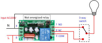 switches how to wire a 3 way switch and a rf relay to control not energized relay light off