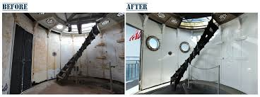 sandblasting before and after. the watch room at graves light, before initial cleaning and painting (left) sandblasting after s