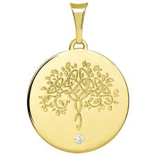 com 14k solid yellow gold hand engraved tree of life cz round medallion pendant jewelry