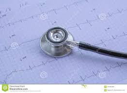 Stethoscope On Electrocardiogram Ecg Ekg Graph Paper Backgroun Stock