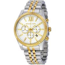 michael kors lexington gent 039 s two tone gold amp silver michael kors lexington gent s two tone gold silver chronograph watch mk8344