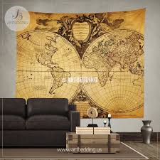 old world map wall tapestry historical world map wall hanging antique old map wall