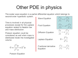 other pde in physics the scalar wave equation is a partial diffeial equation which belongs to