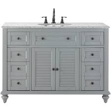 hamilton shutter 49 5 in w x 22 in d bath bath vanity in grey with granite vanity top in grey with white sink