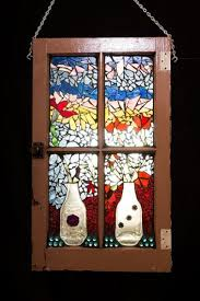 mosaic window vases and flowers stained glass window home decor vintage window
