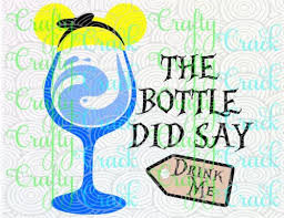 the bottle did say drink me alice in wonderland disney wine glass svg dxf png digital silhouette studio cricut design space