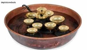 details about woodstock water bell fountain copper bowl brass swirl pump diameter bells tall