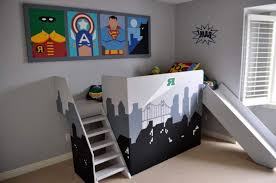 Really cool kids bedrooms Bedroom Ideas Cool Kids Bedroom With Bunk Bed Featured Slide And Decorated Into Superhero Themed Awesome Superhero Wearefound Home Design Cool Kids Bedroom With Bunk Bed Featured Slide And Decorated Into