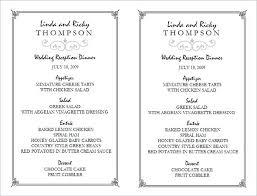 Reception Menu Template Wedding Reception Menu Template By Buffet
