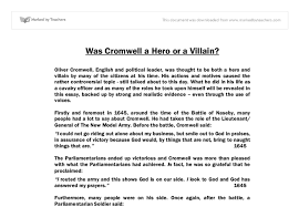 essay hero essay about hero samples of definition essays  was cromwell a hero or a villain gcse history marked by document image preview