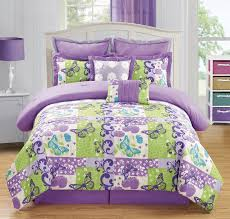 purple and green erfly theme comforter set