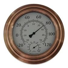 8 copper finish decorative indoor outdoor thermometer by bjerg instruments