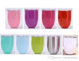 2019 10oz egg cups wine glasses tumbler stainless steel beer coffee mugs double wall vacuum insulated cups with clear lids red wine cups from topshenzhen